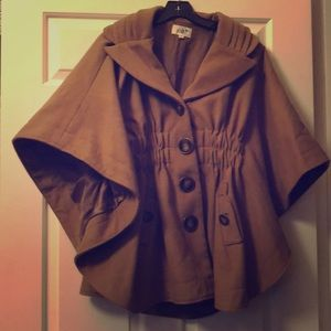 Camel colored button up cape coat